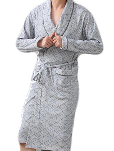 Frühling Und Herbst Der Männer Mit Langen Ärmeln Baumwolle Bademantel Bademantel Pyjama Robe Revers Piece Große Yards,Grey-M -