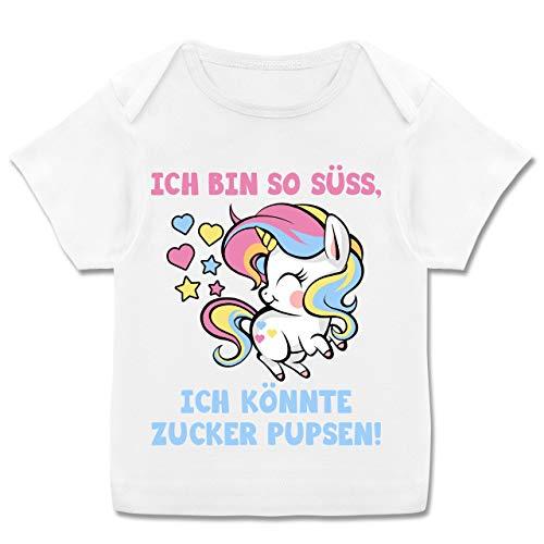 Sprüche Baby - Ich Bin so süß, ich könnte Zucker pupsen - bunt - 80-86 (18 Monate) - Weiß - E110B - Kurzarm Baby-Shirt für Jungen und Mädchen -