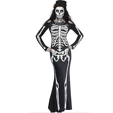 HZHF Femmes Horrible Robe squelette Adulte Halloween Jouer Mariée fantôme