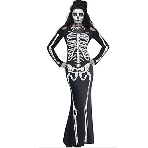DuuoZy Damen Schrecklich Skelettkleid Erwachsene Halloween Cosplay Ghost Braut Kostüm, Black 2, XXL