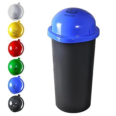 KUEFA 60L - Mülleimer Müllsackständer mit Laserbeschriftung (Blau, Papier)