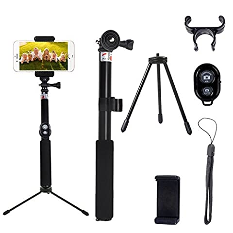 Selfie Stick with Tripod Stand Self-Portrait Extendable Telescoping Pole Wireless Bluetooth Remote Control for GoPro Hero 5,IPhone 7/6s/6/5s,Samsung S7/S6 Edge,HTC,Huawei,Compact Cameras Android