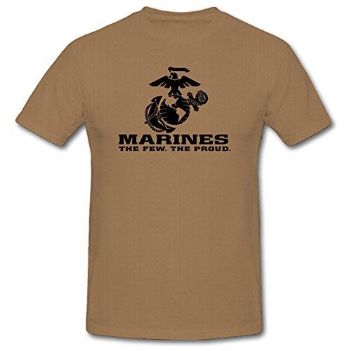 USMC Marines The Few The Proud Corps Wappen Abzeichen Emblem- T Shirt Herren Khaki #701 -