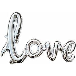 60 x 85 cm Handschrift LOVE Ballon Banner Romantische Schriftzug Buchstaben Skript LOVE für Heiratsantrag Brautparty Hochzeit Party Dekoration (Silber)