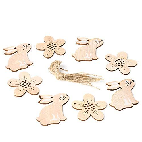 Wovemster Decorazioni Pasquali - JM01126 Coniglio e Fiori In Legno, Ciondolo Stile Nordico Decorazioni per La Casa 8 Pezzi/Pacco