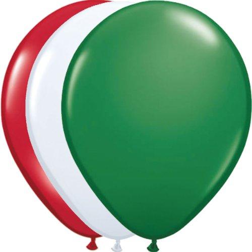 Preisvergleich Produktbild 12 Luftballons * Rot Weiss Grün * für Italien / Mexiko / Ungarn / Bulgarien - Party // 94cm Umfang // Luftballon Ballons Deko Länderparty Italienische Nacht