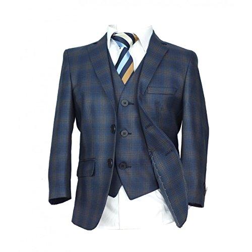 Jungen Karierter Blau Anzuge 3 Stück oder 5 Stück, Kinder Marine Kleider, Jungen Blau Anzuge - 158 (Trennt Schwarz Streifen Anzug)