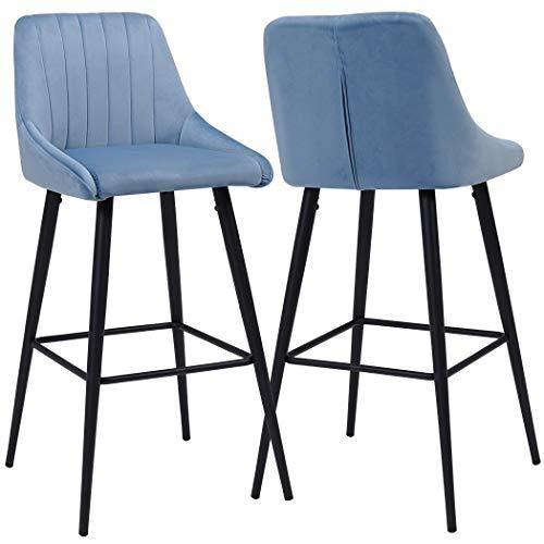 Duhome 2x sgabelli da bar tessuto (velluto) blu azzurro quadrato con schienale piedini in metallo selezione colore 5162
