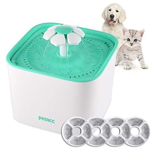 Petacc Fuente para Gatos Perro con 4 Filtros Bebedero Gatos Automático Silencia ,2L (Fuente)