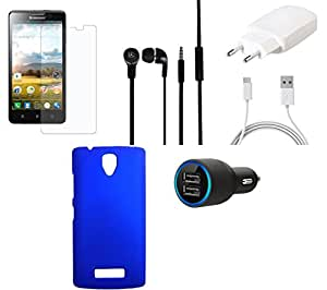 NIROSHA Tempered Glass Screen Guard Cover Charger Car Charger Headphone / Hands Free for Lenovo A2010 - Combo