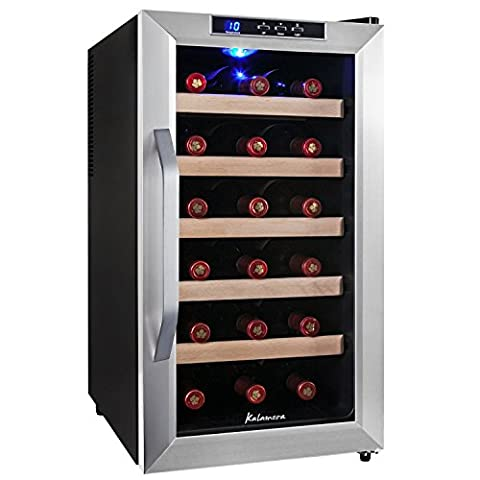 Kalamera KR-18ASSE 18 Bottles (up to 310 mm height), temperature zones 10-18 ° Freestanding Stainless Steel Wine Cooler ,Wine fridge , Black.48ltr Wine Refrigerator.