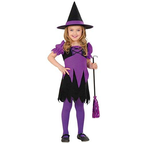 NET TOYS Süße Zauberin Kostüm Hexe Kinderkostüm 110 cm Hexchen Mädchenkostüm Kleine Magierin Faschingskostüm Hexenkostüm Kleid mit Hut Halloween Walpurgiskostüm Mädchen