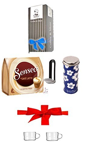 Paddose ' Kaffeemotive Flower blau ' + Padheber + Senseo Cafe Latte, 10 Kaffee Pads + 200ml...