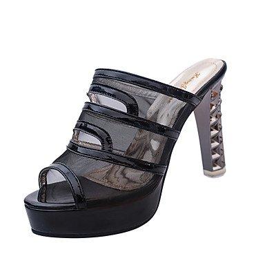 LvYuan Da donna-Sandali-Ufficio e lavoro Formale Serata e festa-Club Shoes-Quadrato-Tulle-Nero Argento Dorato Black