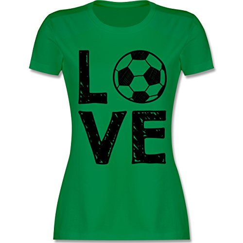 Shirtracer Fußball - Love Fußball - Damen T-Shirt Rundhals Grün