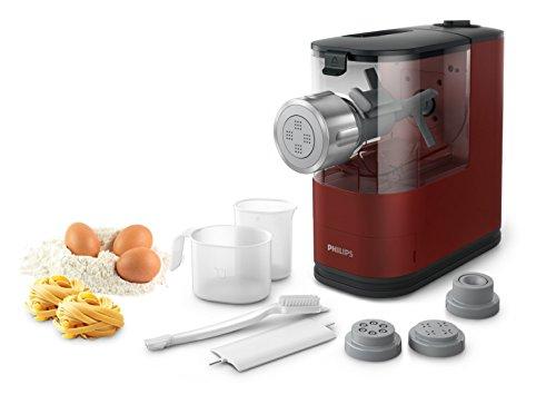 Philips Macchina per la pasta Pasta Maker-Compatto, con 4 trafile HR2345/39 Macchina, Rosso