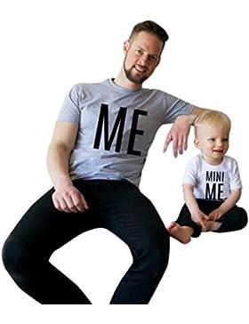 Papá e hijo blusa, Koly 78/5000 Papá y el hijo de manga corta Blusa de la letra Tops T-Shirt Ropa de la ropa de...