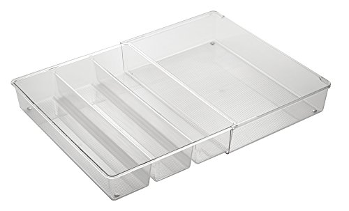 InterDesign Linus Expandable Cutlery Tray, 4-Compartment Drawer Dividers for Cutlery and Kitchen Utensils, Made of BPA-Free Plastic, Clear