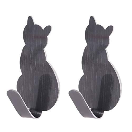 A0127 Haken für Tür Katze Haken Edelstahl Super stark Aufbewahrung Küche Zubehör Badezimmer Kommode Badezimmer-Dekoration 2-teilig grau -