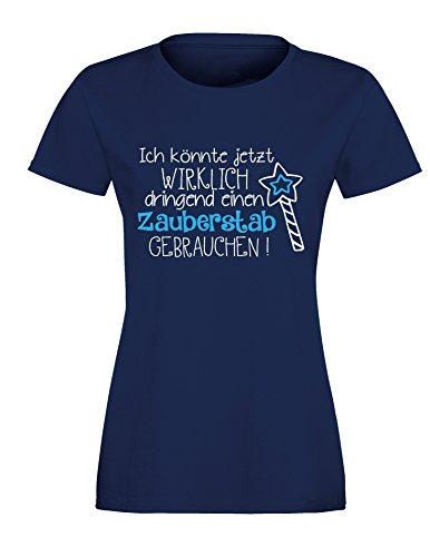 Ich könnte wirklich dringend einen Zauberstab gebrauchen - Prinzessinnen Motiv - Damen Rundhals T-Shirt Navy/Weiss-hellblau