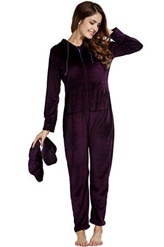 Unibelle Damen Schlafanzug Strampler Kapuzen-Footed Jumpsuit Schlafanzug Dunkles Violet S