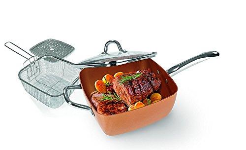 Copper Chef Keramik-Eckpfannen-Set Zum Braten, Frittieren & Dampfgaren ( 4 tlg. ) (Kupfer-ofen)