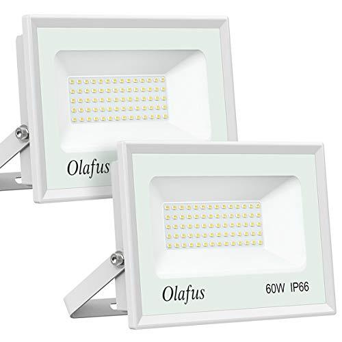 Olafus 2 Paquetes Focos LED Exterior 60W, 6600LM 5000K, Blanco Frío, IP66...