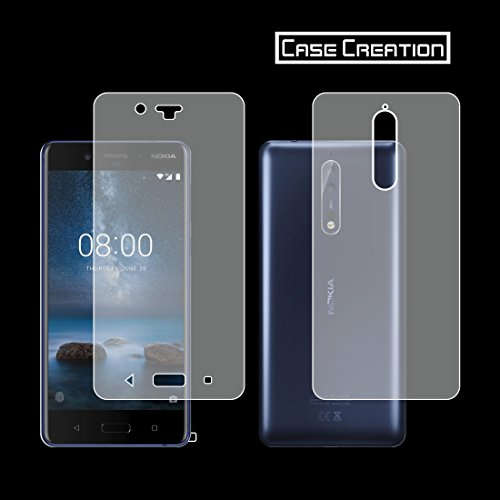 Case Creation Nokia 8 Screen Guard, 360° Full Body + Curved Screen Coverage Front Back Scratch Guard for Nokia 8 Android (Clear)