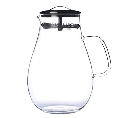 Gosear 1900ml Große Kapazität Glas Pitcher Trinken Wasser Juice Tea Milch Getränke Krug Pitcher Flasche mit Filter Edelstahl Deckel für Hausgemachte Saft Eistee Tee (Glas Milch Flaschen Zu Trinken)