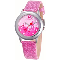 Red Balloon Red Balloon London Shopping Tween Glitz Stainless Steel children's quartz Watch with white Dial analogue Display and pink leather Strap W000353