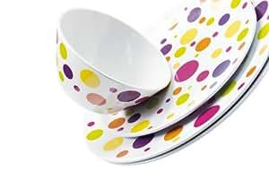 Zak - Assiette plate pois multicolors incassable 28cm (par6)