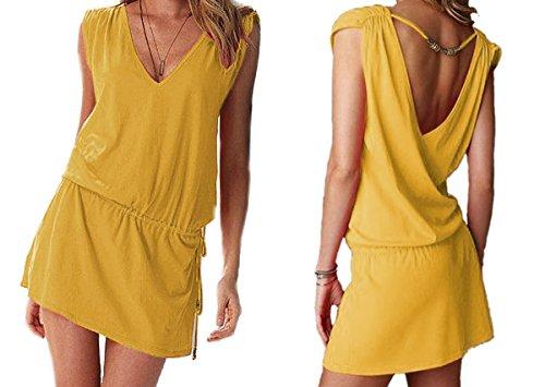 Butterme Badebekleidungs StrandKleid Damen Sexy Deep V-Ausschnitt Öffnen zurück Badeanzug Strand Bikini Vertuschung Kleid Minikleid Sommerkleid Gelb