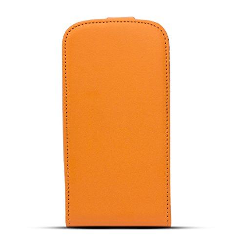 Moozy Prime magnétique Flexi Mince Flip Case Apple iPhone 4 4S Housse / étui verticale avec support de téléphone de silicone Orange Frc Orange