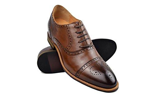ZERIMAR Zapatos con Alzas Interiores para Hombres Aumento 7 cm | Zapatos de Hombre con Alzas Que Aumentan Su Altura | Zapatos Hombre Oxford (39, Cuero)