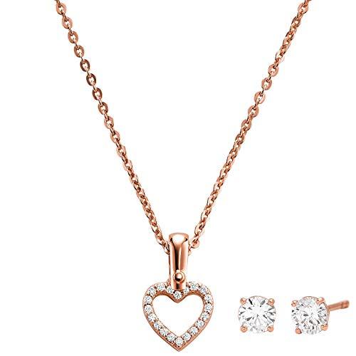 Michael Kors Schmuckset Halskette und Ohrringe Herz MKC1130AN791