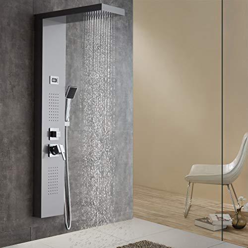 Auralum Duschpaneel Edelstahl Wasserfall Regendusche Luxus Duschsystem Duscharmatur mit Handbbrause Silber