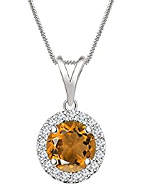 "Silvernshine 7mm Orange Citrine & Sim Diamond Halo Pendant 18"" Chain In 14K White Gold Fn"