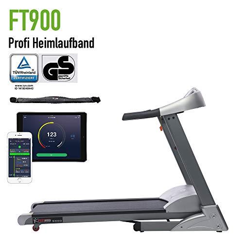Fitifito FT900 mit TÜV GS Siegel Profi Laufband 7PS 22km/h mit Pulsgurt, LCD Bildschirm, Dämpfungssystem, Pulsgurt, 5 Trainingsmodulen inkl. HRC - Klappbar Gratis Pulsgurt im Wert von 49,9EUR