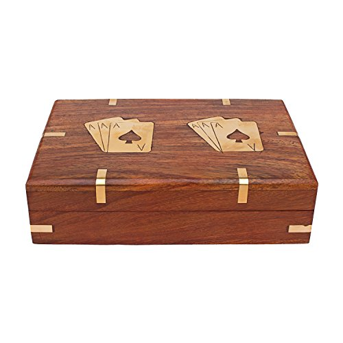 Kartique Playing Card Box with two set of Golden Playing Cards | Combo Deal | Wooden Playing Card Box  available at amazon for Rs.990