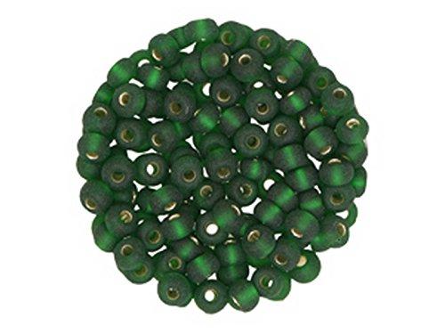 Creative Beads Rocailles 4,5mm, Döschen 15g, Silbereinzug, matt dunkelgrün um Schmuck, Deko,...
