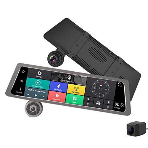 ll Voll Bildschirm 4G Presse IPS Universell Bündeln Auto Dash Cam Rückansicht Rückfahrspiegel Mit GPS WiFi Android 5.1 Doppelt Linse Fhd 1080P ()