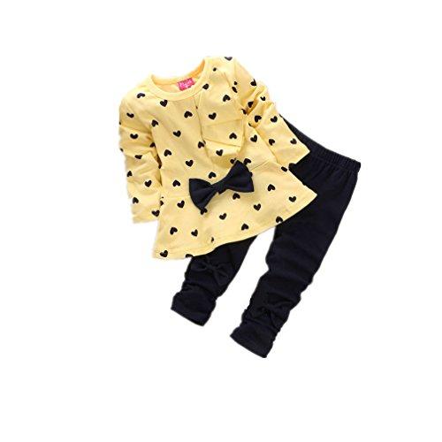 Kleinkind SäUglingsbaby MäDchen Kleidungs Satz, QinMM Neugeborene Baby SäTze HerzföRmig Druck Fliege Nette 2PCS Scherzt Gesetzte Lange HüLsen T-Shirt + Hosen (6-12M, Gelb)