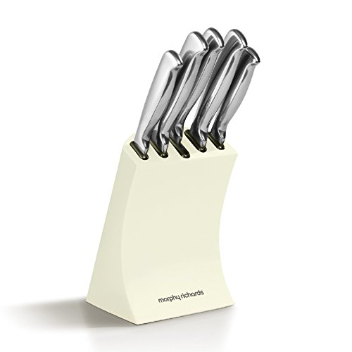 Morphy Richards 5 Piece Knife Block, Ivory Cream