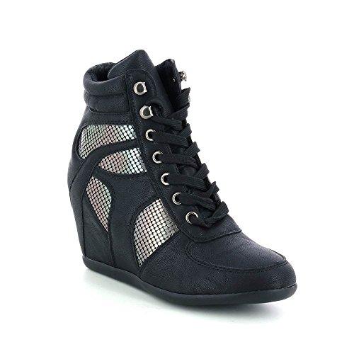 Scarpe sportive con zeppa effetto metallo Nero
