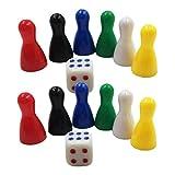 Sharplace 12 Halmakegel Spielsteine 25 x 13 mm Kunststoff Vers.Farben ( 2 Würfel )