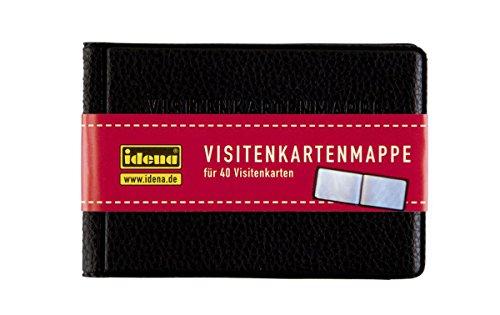 Idena 567043 - Visitenkartenmappe, für Kartengröße bis 85 x 54 mm, Kunstledereinband, schwarz, für 40 Karten (10 x 7 cm)