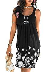 Idea Regalo - Aleumdr Vestiti Estivi Donna a Girocollo Copricostume Donna per Spiaggia Vestito Donna Senza Maniche Abiti Donna con Stampa Floreale Vestiti Donna