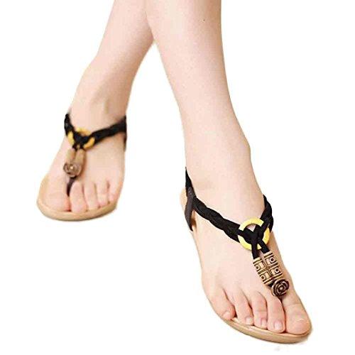 Fulltime® Femmes Bohême Sweet perles chaussures Clip Toe sandales plage Noir