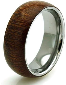 Tioneer Edelstahl Mahagoni Holz Inlay Gewölbtem Ring