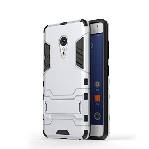 Bllosem Lenovo ZUK Z2 Pro Hülle Hybride Dual-Layer PC+TPU Kompletter Schutz Standfunktion Tasche für Lenovo ZUK Z2 Pro Silber